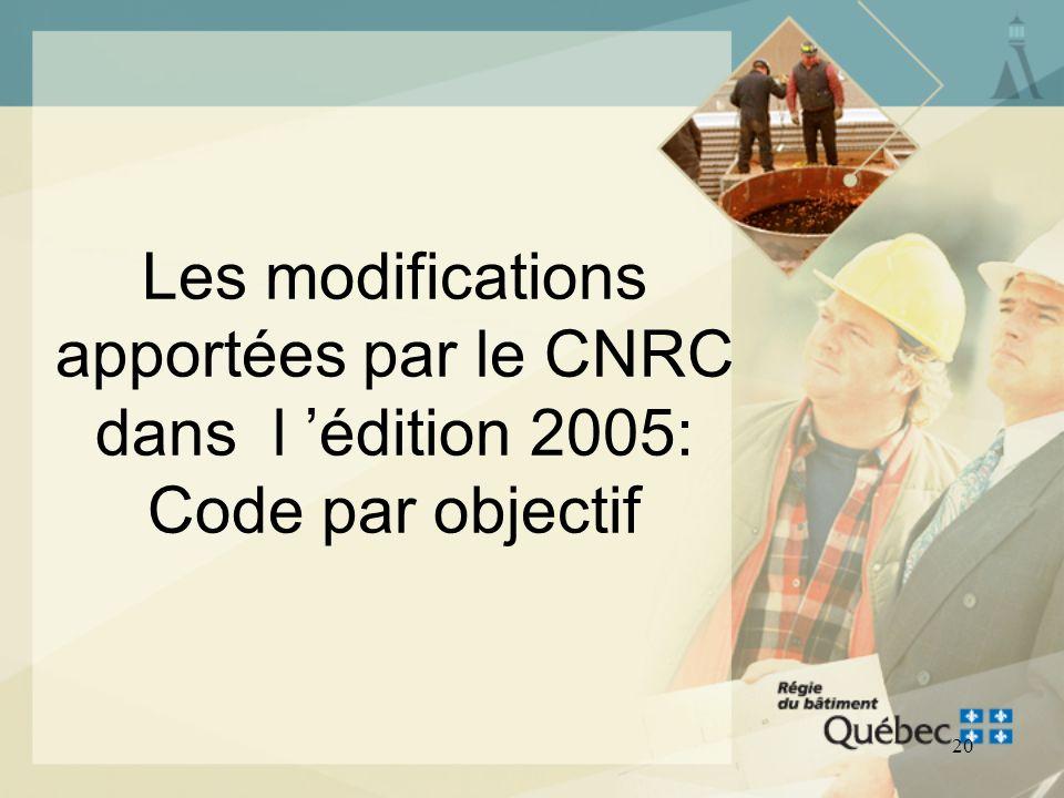 19 LES MODIFICATIONS APPORTÉES PAR LE CNRC DANS L ÉDITION 2005 Forme: Code par objectifs Contenu technique