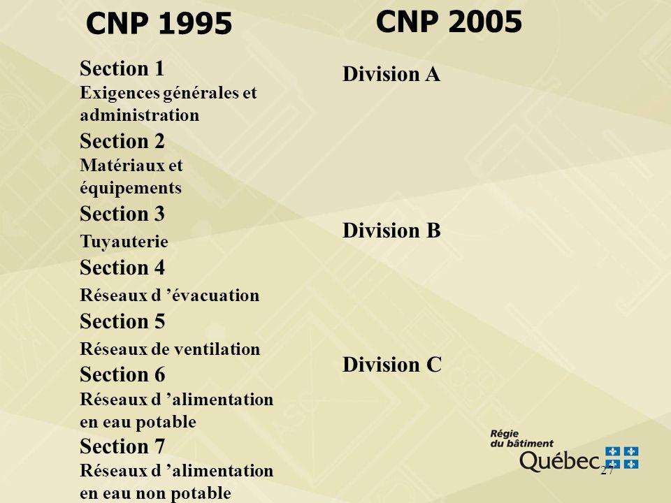 26 La répartition du contenu du CNP 1995 dans le CNP 2005