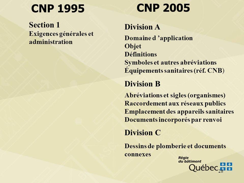 27 CNP 1995 CNP 2005 Section 1 Exigences générales et administration Section 2 Matériaux et équipements Section 3 Tuyauterie Section 4 Réseaux d évacu