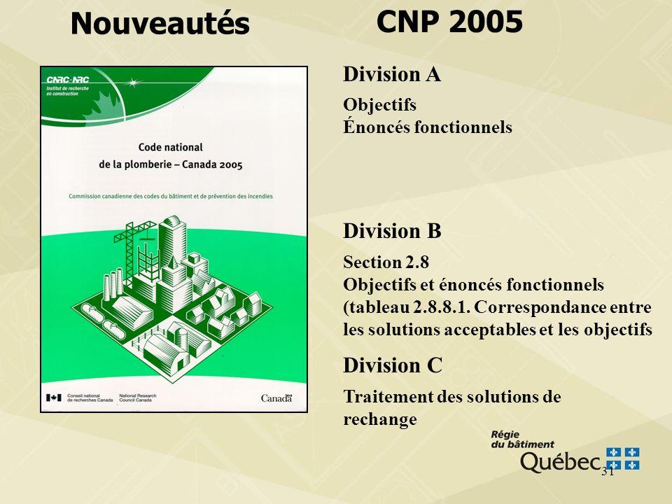 30 CNP 1995 CNP 2005 Section 3 Tuyauterie Section 4 Réseaux d évacuation Section 5 Réseaux de ventilation Section 6 Réseaux d alimentation en eau pota