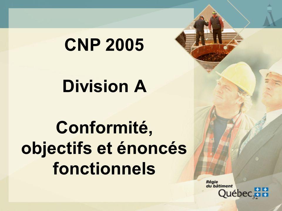 31 Nouveautés CNP 2005 Division A Division B Division C Objectifs Énoncés fonctionnels Section 2.8 Objectifs et énoncés fonctionnels (tableau 2.8.8.1.
