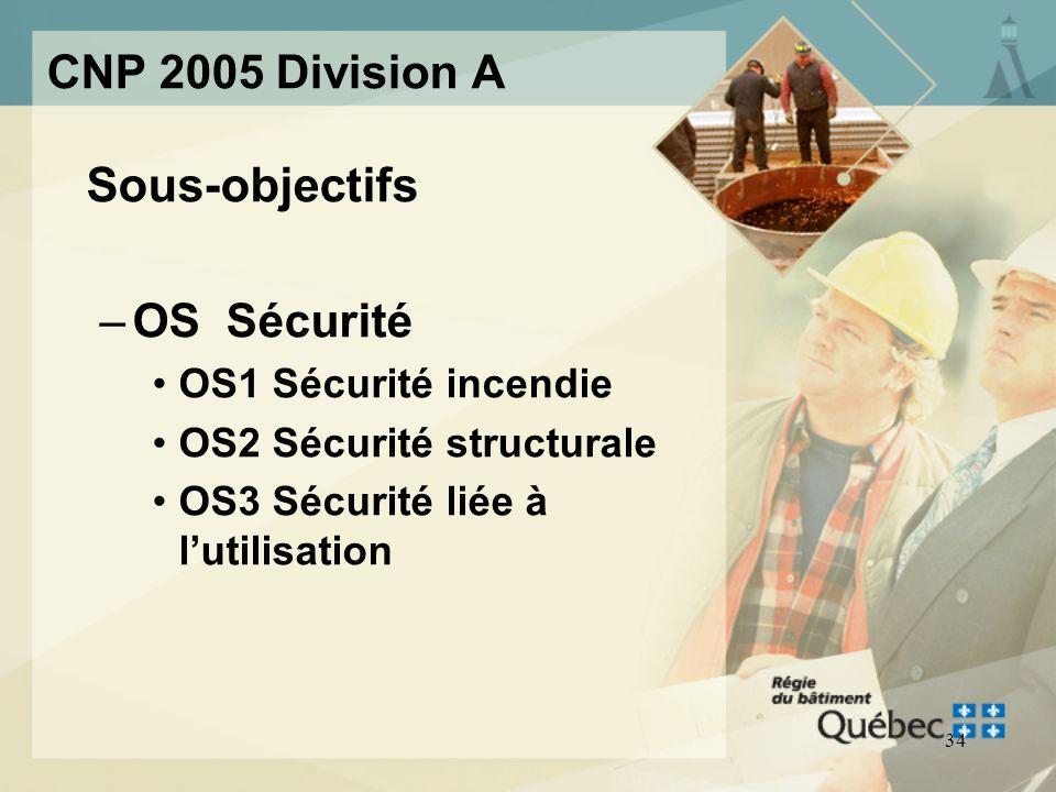 33 CNP 2005 Division A Objectifs principaux –OS Sécurité –OH Santé –OP Protection du bâtiment ou de linstallation contre les dégâts deau