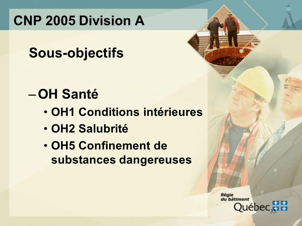 34 CNP 2005 Division A Sous-objectifs –OS Sécurité OS1 Sécurité incendie OS2 Sécurité structurale OS3 Sécurité liée à lutilisation