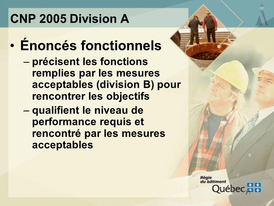 36 CNP 2005 Division A Sous-objectifs –OP Protection du bâtiment ou de linstallation contre les dégâts deau OP5 Protection du bâtiment ou de linstalla