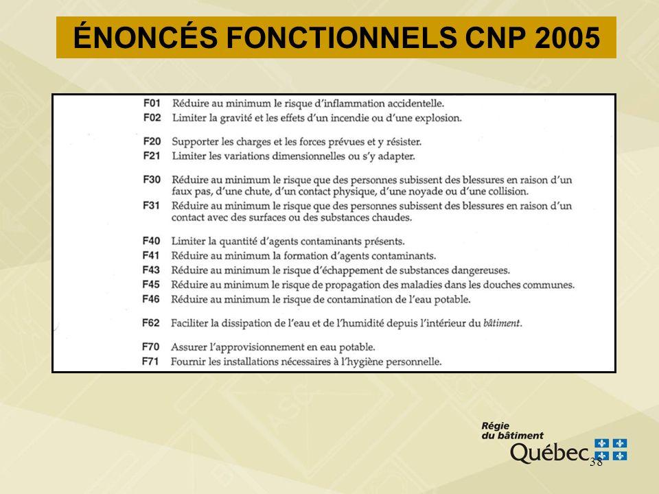 37 CNP 2005 Division A Énoncés fonctionnels –précisent les fonctions remplies par les mesures acceptables (division B) pour rencontrer les objectifs –