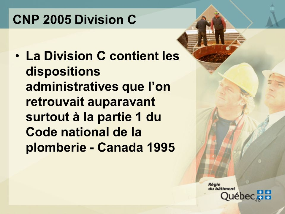 47 CNP 2005 Division C Dispositions administratives