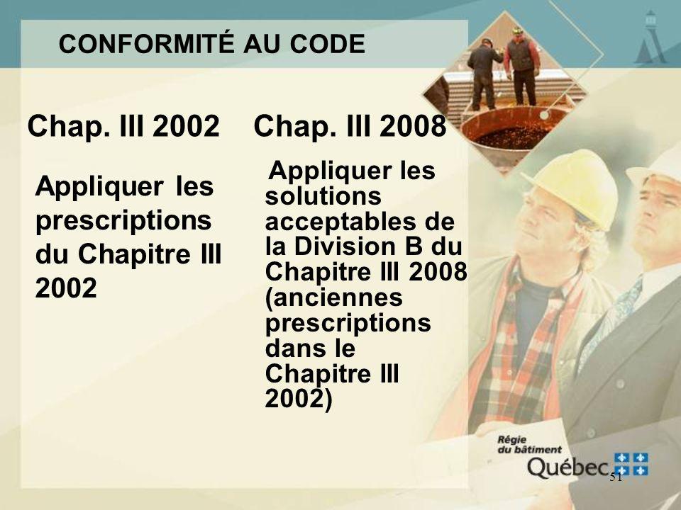 50 Conformité au Chapitre III 2008