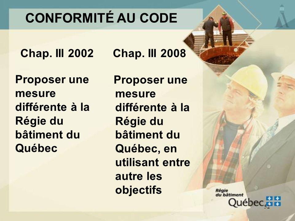 51 CONFORMITÉ AU CODE Appliquer les solutions acceptables de la Division B du Chapitre III 2008 (anciennes prescriptions dans le Chapitre III 2002) Ap