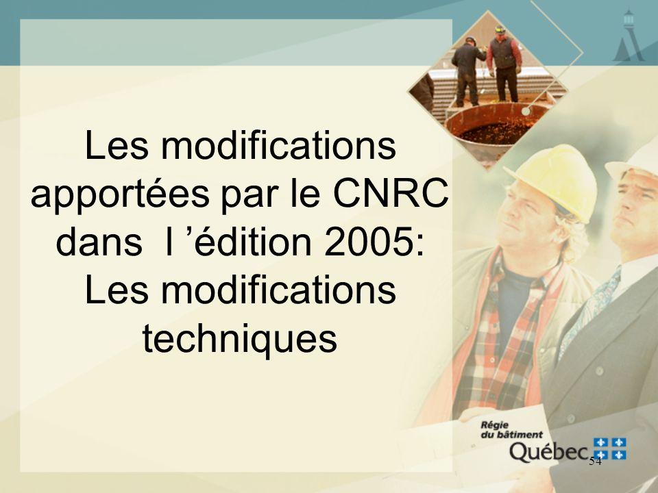 53 LE CODE NATIONAL DE LA PLOMBERIE - CANADA 2005 Conformité au Code Le processus de conformité au Chapitre III Plomberie demeure le même, en suivant