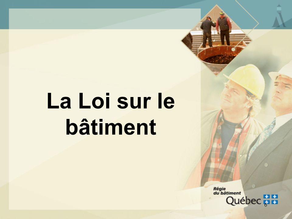 5 PORTRAIT GÉNÉRAL DE LA RÉGLEMENTATION La Régie du bâtiment assure lapplication du Chapitre III, Plomberie du Code de construction du Québec Exceptio