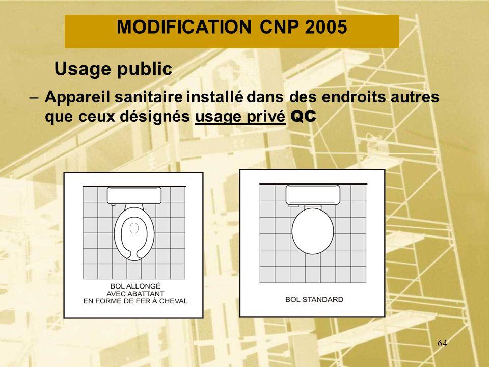 63 MODIFICATION CNP 2005 Tuyau de ventilation terminale supplémentaire –Tuyau de ventilation installé entre un tuyau de ventilation terminale et un tu