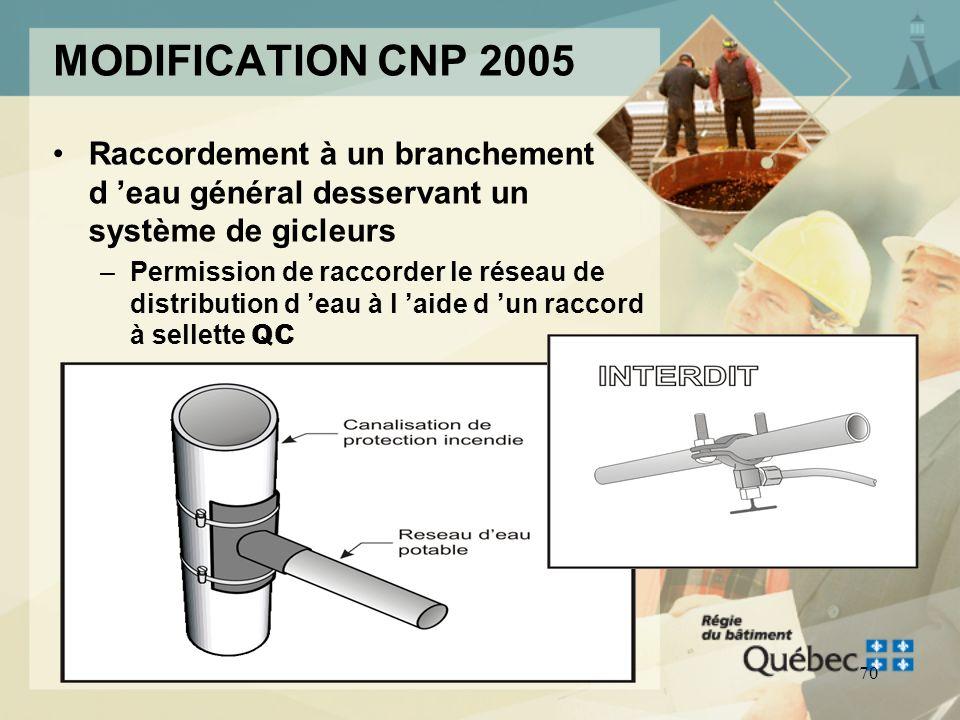 69 MODIFICATION CNP 2005 Coudes au 1/4 Pour les réseaux sanitaires dévacuation qui ont un diamètre dau plus 4 po, des coudes au 1/4 ne doivent être pe