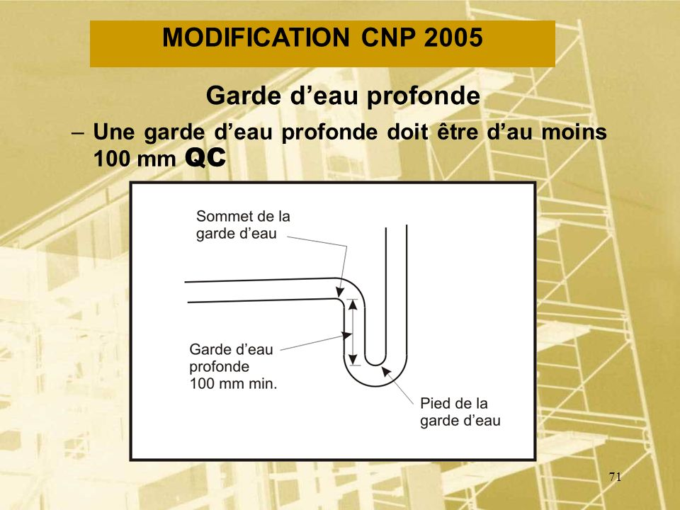 70 MODIFICATION CNP 2005 Raccordement à un branchement d eau général desservant un système de gicleurs –Permission de raccorder le réseau de distribut
