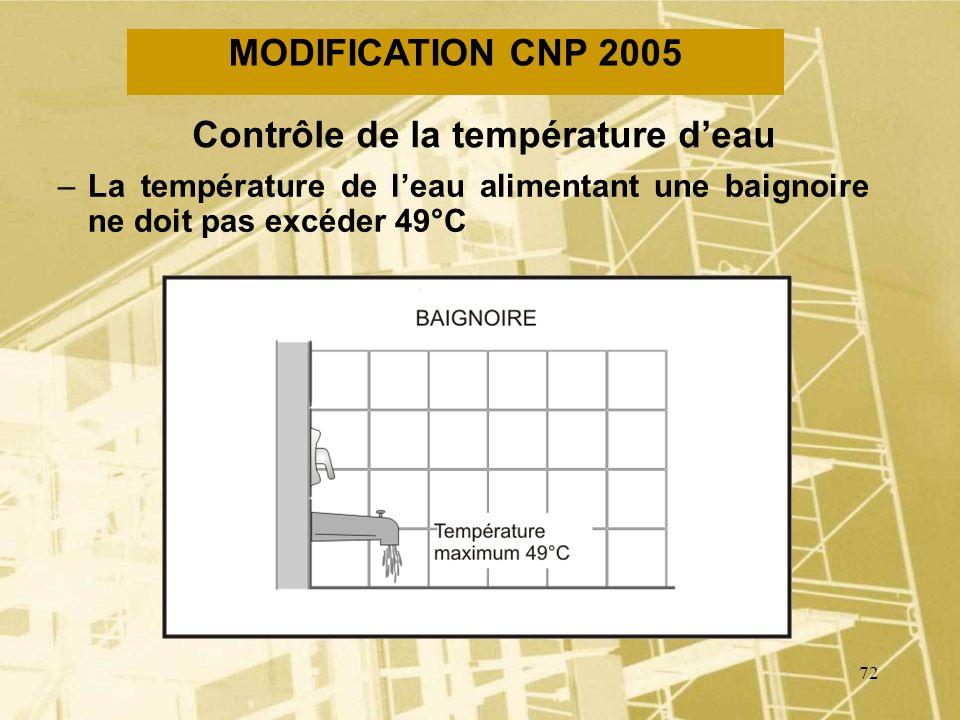 71 MODIFICATION CNP 2005 Garde deau profonde –Une garde deau profonde doit être dau moins 100 mm QC