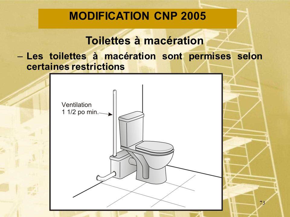72 MODIFICATION CNP 2005 Contrôle de la température deau –La température de leau alimentant une baignoire ne doit pas excéder 49°C