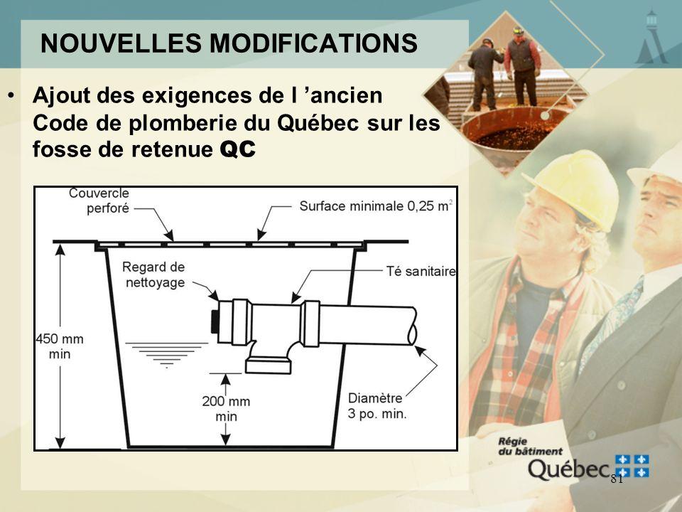 80 MODIFICATION CNP 2005 Avaloirs situés dans des cuvettes dascenseur Lavaloir d'une cuvette d'ascenseur et de monte-charge: –Doit être raccordé direc