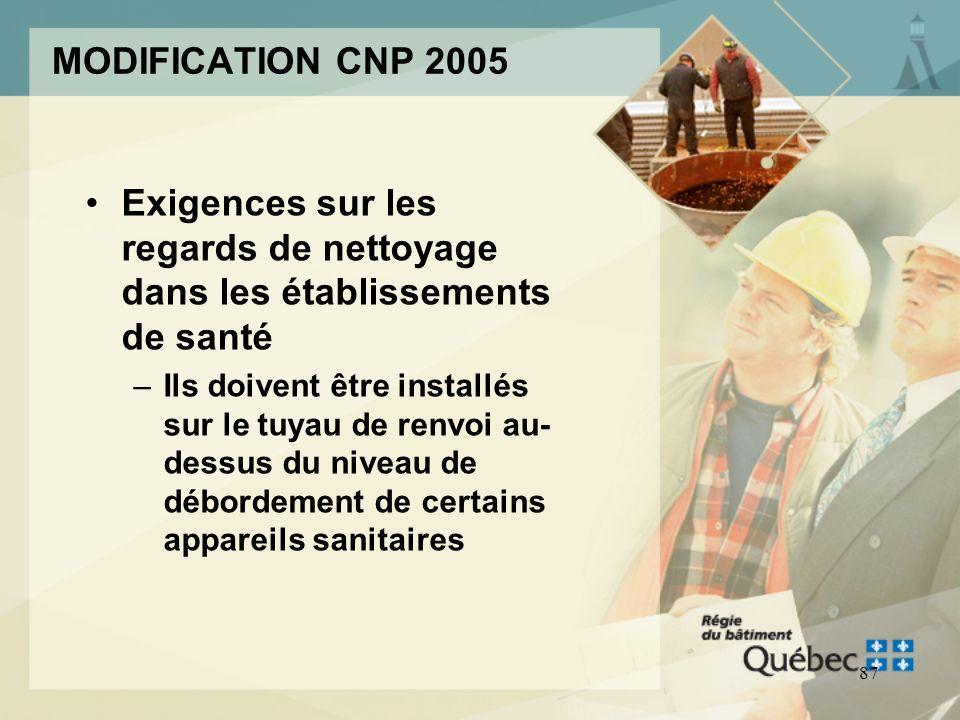86 MODIFICATION CNP 2005 Exigences sur le raccordement: –des lave-vaisselle –des machines à laver
