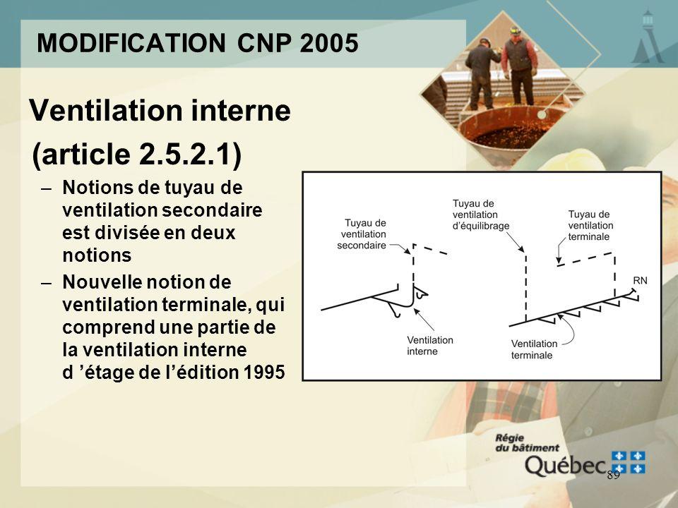 88 MODIFICATION CNP 2005 Section 2.5 Réseaux de ventilation –Refonte complète de la section sur la ventilation des réseaux d évacuation deaux usées –H