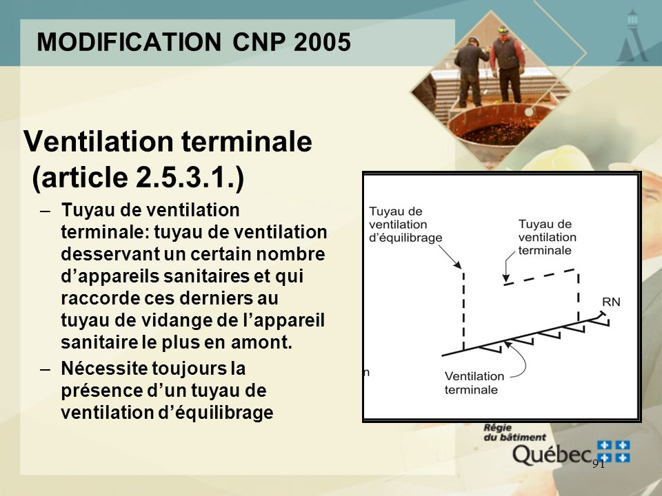 90 MODIFICATION CNP 2005 Notions de ventilation interne –Les mêmes règles sappliquent aux ventilation interne détage et aux ventilation interne de plu