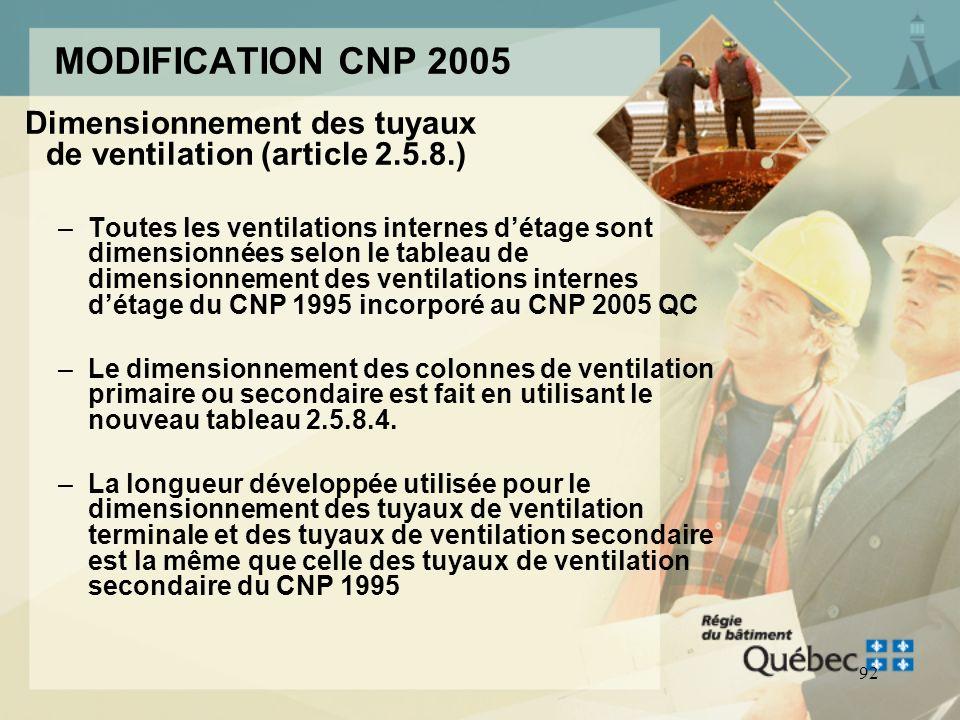 91 MODIFICATION CNP 2005 Ventilation terminale (article 2.5.3.1.) –Tuyau de ventilation terminale: tuyau de ventilation desservant un certain nombre d