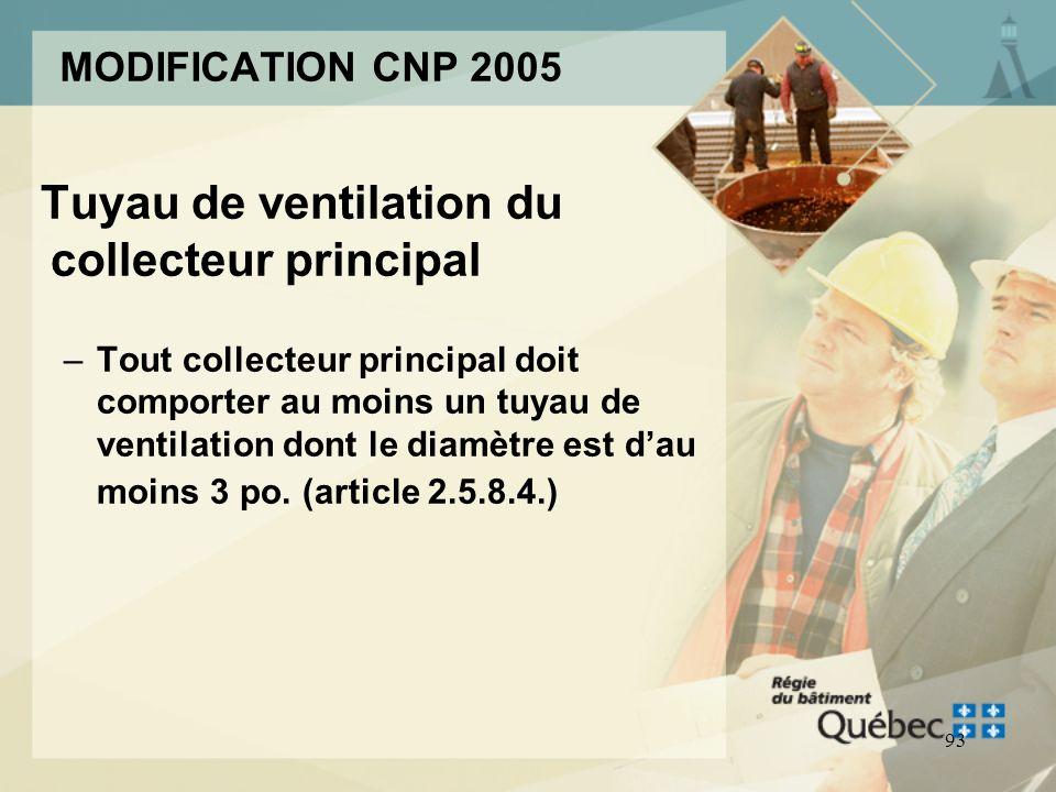 92 MODIFICATION CNP 2005 Dimensionnement des tuyaux de ventilation (article 2.5.8.) –Toutes les ventilations internes détage sont dimensionnées selon