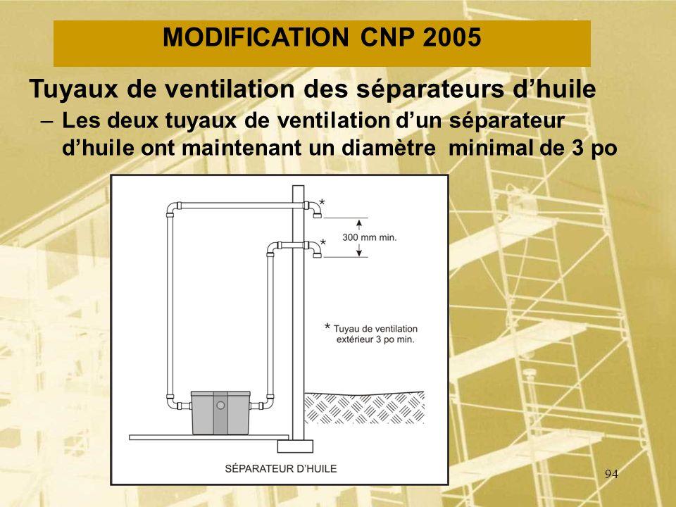 93 MODIFICATION CNP 2005 Tuyau de ventilation du collecteur principal –Tout collecteur principal doit comporter au moins un tuyau de ventilation dont