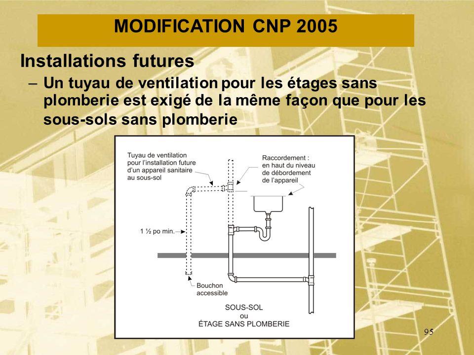 94 MODIFICATION CNP 2005 Tuyaux de ventilation des séparateurs dhuile –Les deux tuyaux de ventilation dun séparateur dhuile ont maintenant un diamètre