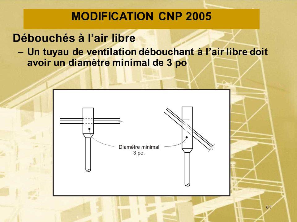 96 MODIFICATION CNP 2005 Débouchés à lair libre –Un tuyau de ventilation débouchant à lair libre doit avoir une hauteur minimale de 150 mm au-dessus d