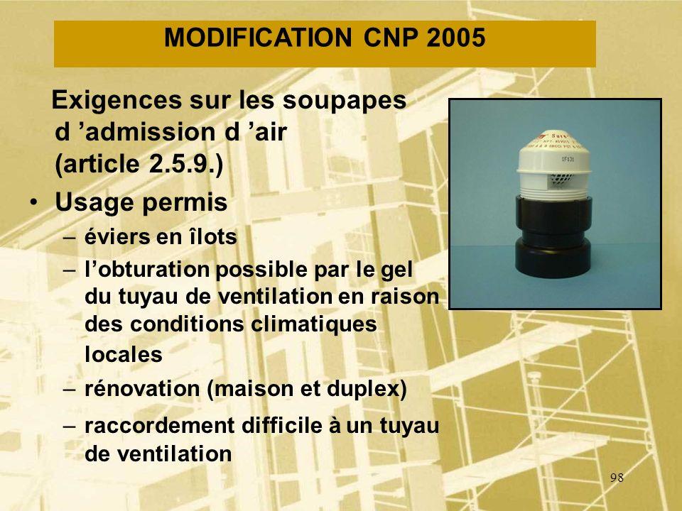 97 MODIFICATION CNP 2005 Débouchés à lair libre –Un tuyau de ventilation débouchant à lair libre doit avoir un diamètre minimal de 3 po