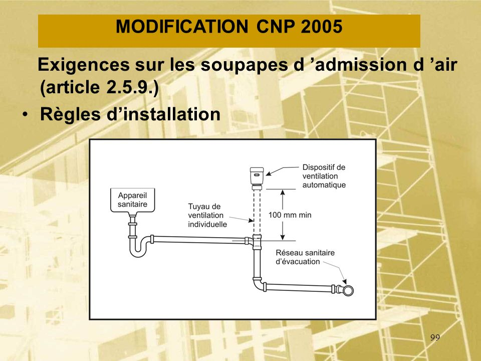 98 MODIFICATION CNP 2005 Exigences sur les soupapes d admission d air (article 2.5.9.) Usage permis –éviers en îlots –lobturation possible par le gel