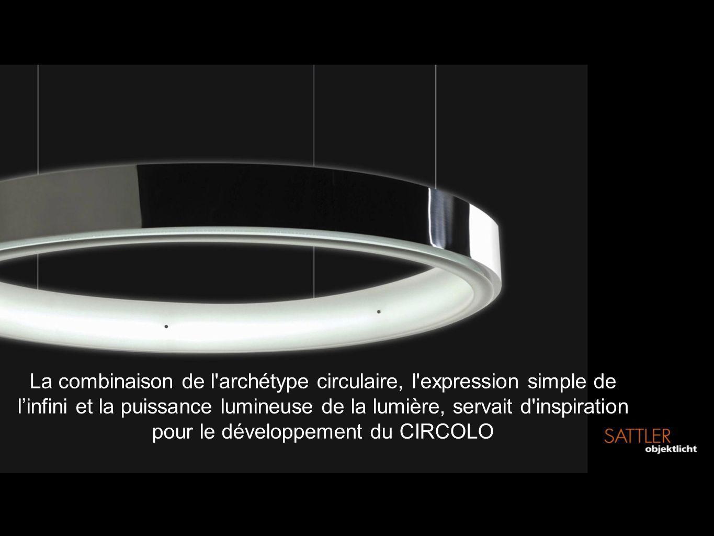 La combinaison de l'archétype circulaire, l'expression simple de linfini et la puissance lumineuse de la lumière, servait d'inspiration pour le dévelo
