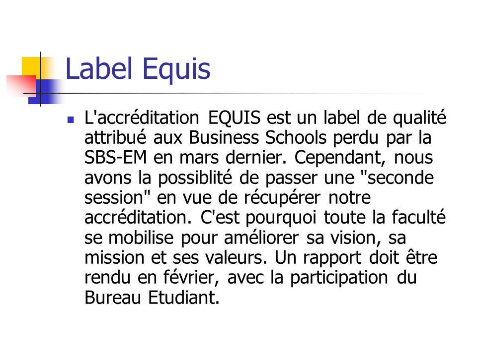 Label Equis L'accréditation EQUIS est un label de qualité attribué aux Business Schools perdu par la SBS-EM en mars dernier. Cependant, nous avons la
