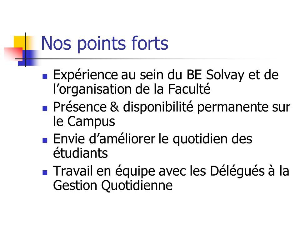 Nos points forts Expérience au sein du BE Solvay et de lorganisation de la Faculté Présence & disponibilité permanente sur le Campus Envie daméliorer