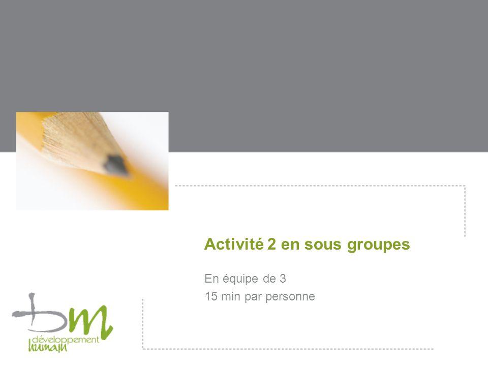 Activité 2 en sous groupes En équipe de 3 15 min par personne