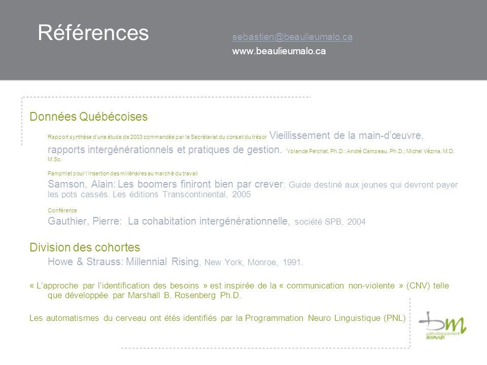 Références sebastien@beaulieumalo.ca www.beaulieumalo.ca sebastien@beaulieumalo.ca Données Québécoises Rapport synthèse dune étude de 2003 commandée p