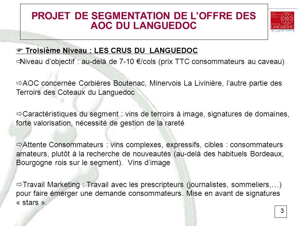 4 PROJET DE SEGMENTATION DE LOFFRE DES AOC DU LANGUEDOC Les AOP du Languedoc seront répartis entre les segments 2 et 3 en fonction : - du souhait de positionnement des ODG de chaque appellation - de critères économiques précis garantissant lhomogénéité du segment de marché : Proposition critères économiques pour accéder au segment crus du Languedoc : - nombre de producteurs (entre 30 et 50 metteurs en marché) - volume de production (25000 à 35000 hl) - rendement maximum (45 hl/ha : critères INAO 2008) - prix vrac (>150 /hl) ou pourcentage des ventes directes (>70%) - prix consommateurs (caveau > 10 TTC / GD : > 7 TTC ) - Mise en bouteille en région restreinte de production
