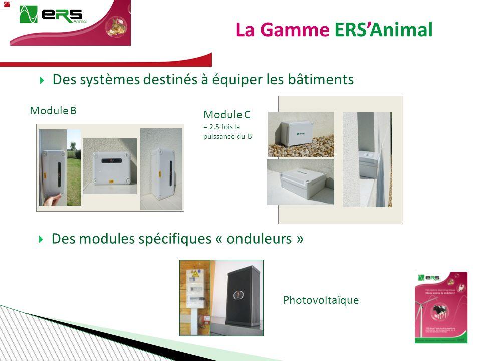 La Gamme ERSAnimal Photovoltaïque Module B Module C = 2,5 fois la puissance du B Des systèmes destinés à équiper les bâtiments Des modules spécifiques « onduleurs »