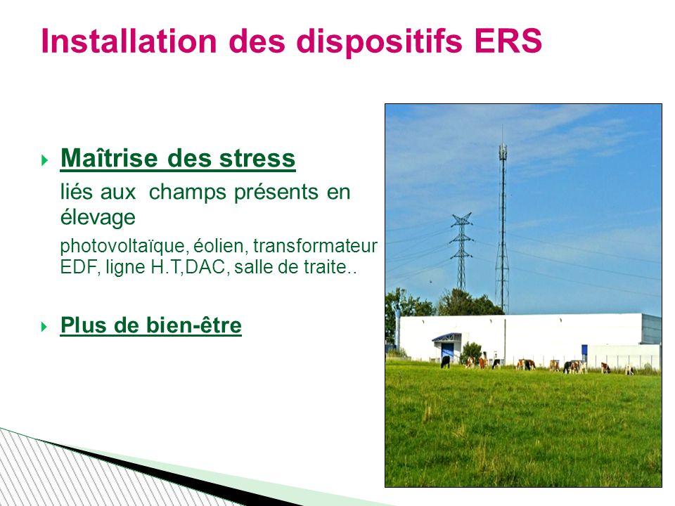 Maîtrise des stress liés aux champs présents en élevage photovoltaïque, éolien, transformateur EDF, ligne H.T,DAC, salle de traite..