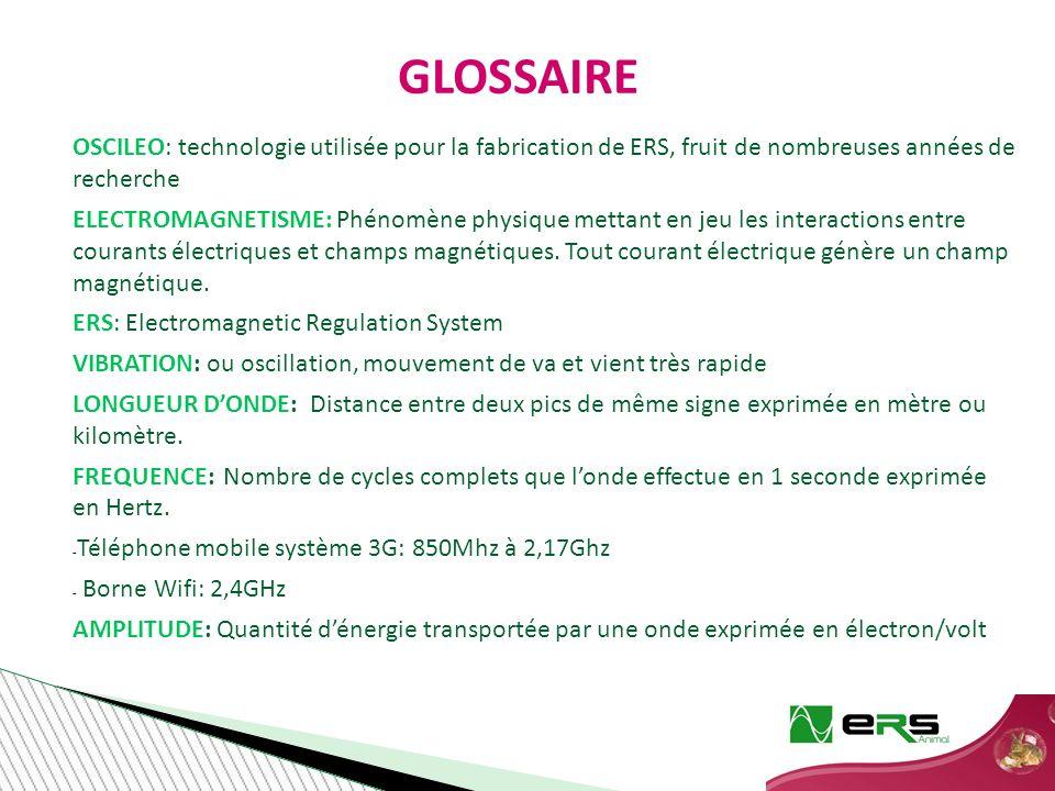 GLOSSAIRE OSCILEO: technologie utilisée pour la fabrication de ERS, fruit de nombreuses années de recherche ELECTROMAGNETISME: Phénomène physique mettant en jeu les interactions entre courants électriques et champs magnétiques.