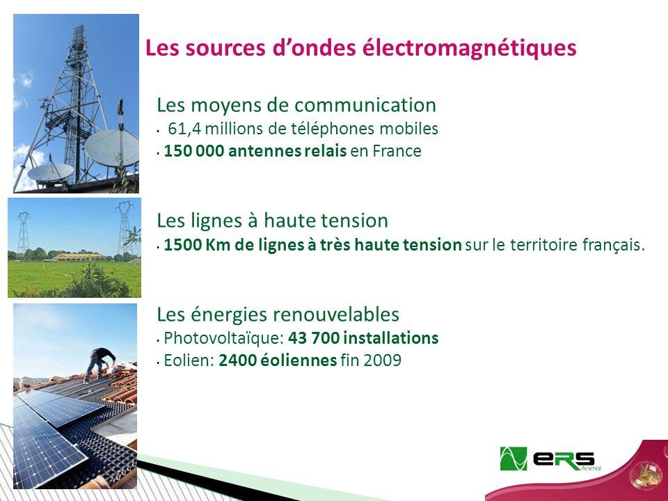 Les moyens de communication 61,4 millions de téléphones mobiles 150 000 antennes relais en France Les lignes à haute tension 1500 Km de lignes à très haute tension sur le territoire français.