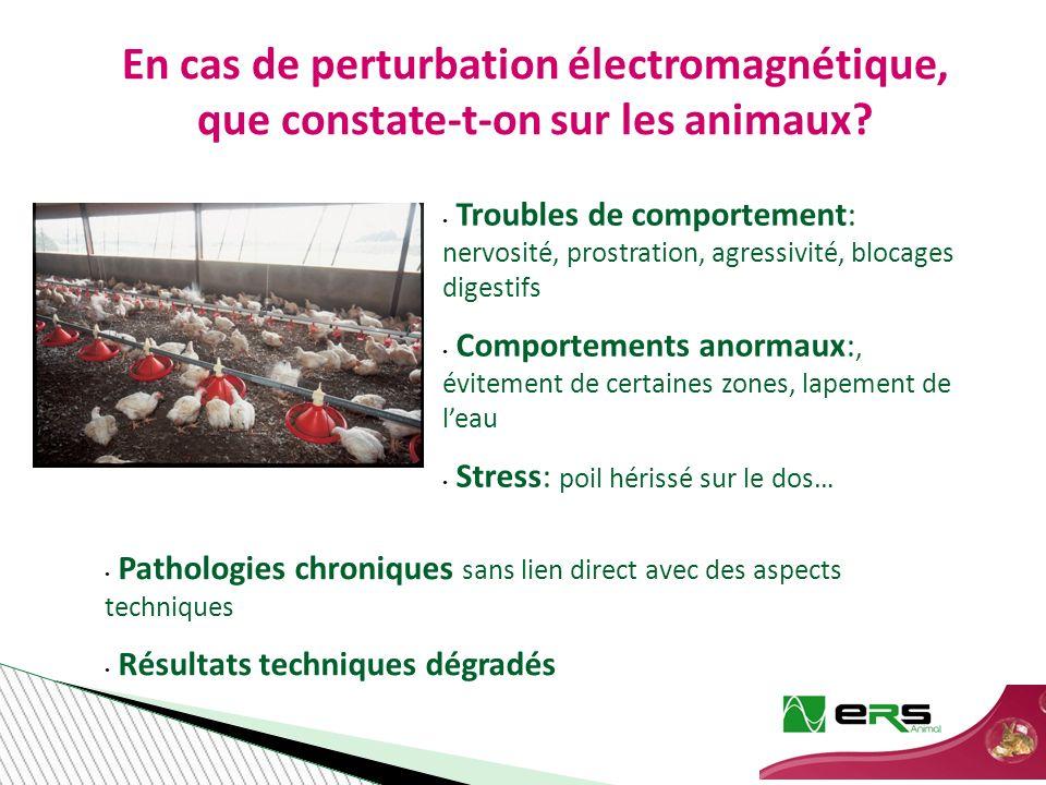 Pathologies chroniques sans lien direct avec des aspects techniques Résultats techniques dégradés En cas de perturbation électromagnétique, que constate-t-on sur les animaux.