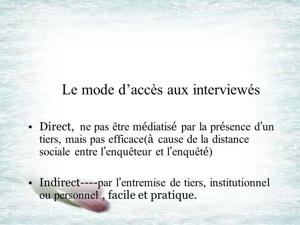 Le mode daccès aux interviewés Direct, ne pas être m é diatis é par la pr é sence d un tiers, mais pas efficace( à cause de la distance sociale entre