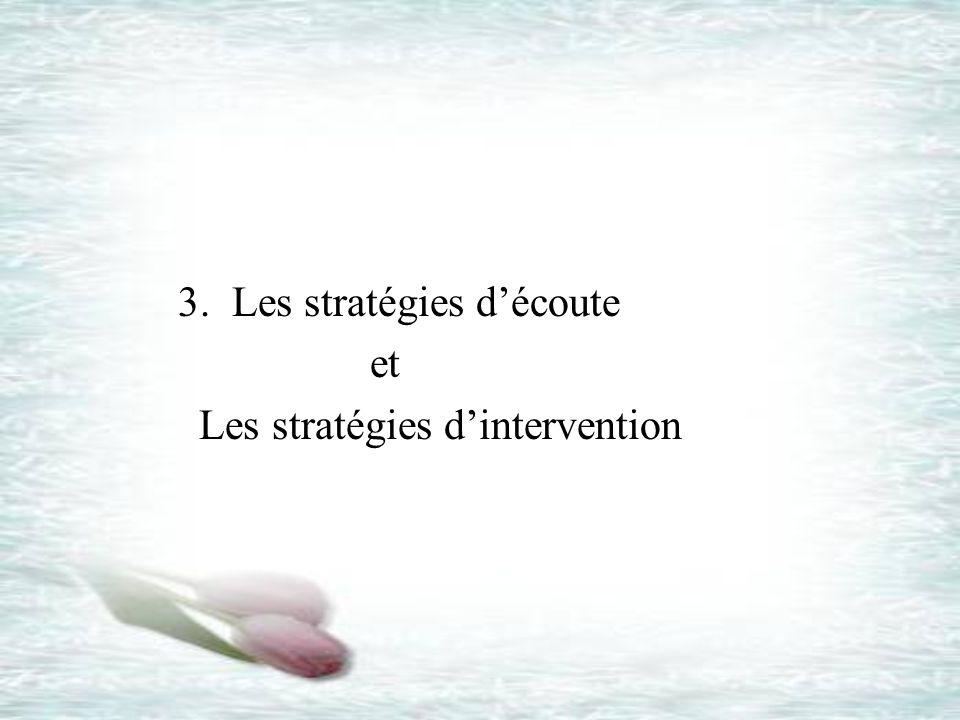 3. Les stratégies découte et Les stratégies dintervention