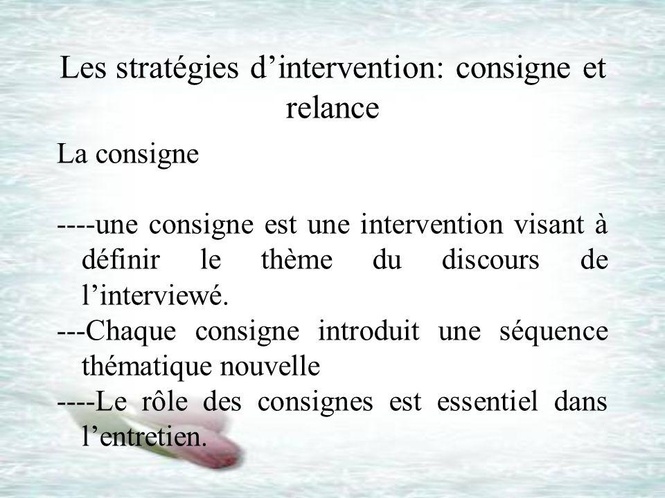 Les stratégies dintervention: consigne et relance La consigne ----une consigne est une intervention visant à définir le thème du discours de lintervie