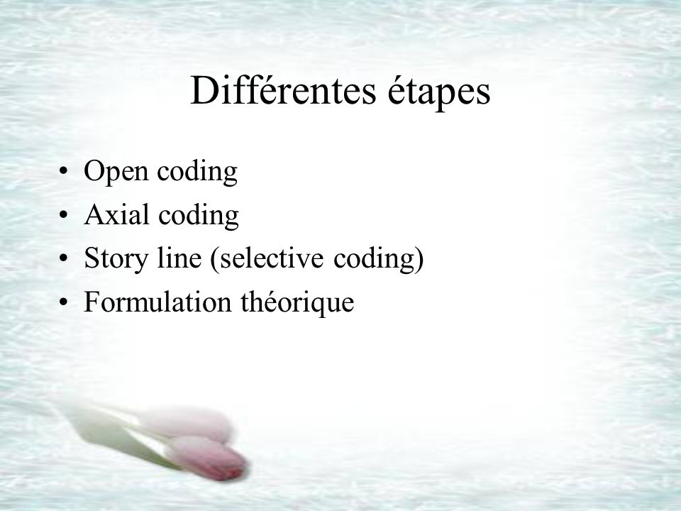 Différentes étapes Open coding Axial coding Story line (selective coding) Formulation théorique
