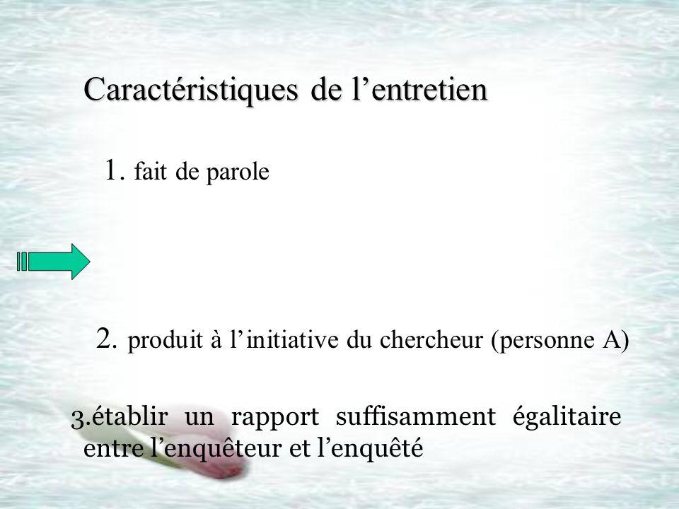 Caractéristiques de lentretien Caractéristiques de lentretien 1. fait de parole 2. produit à linitiative du chercheur (personne A) 3.établir un rappor