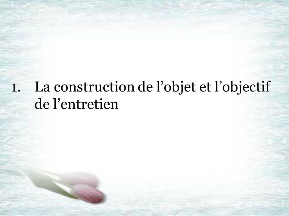 1.La construction de lobjet et lobjectif de lentretien