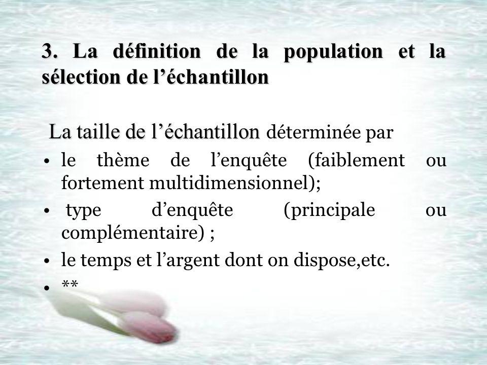3. La définition de la population et la sélection de léchantillon La taille de léchantillon La taille de léchantillon déterminée par le thème de lenqu