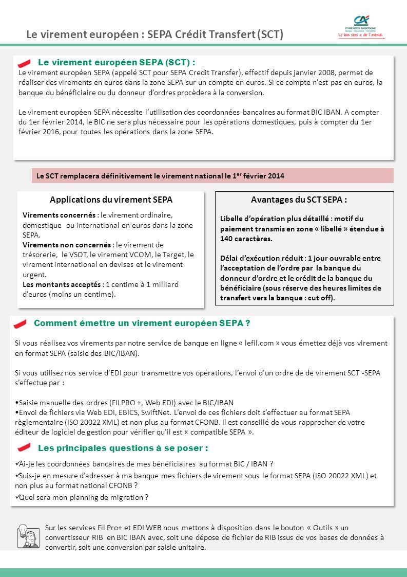 Le virement européen : SEPA Crédit Transfert (SCT) Si vous réalisez vos virements par notre service de banque en ligne « lefil.com » vous émettez déjà