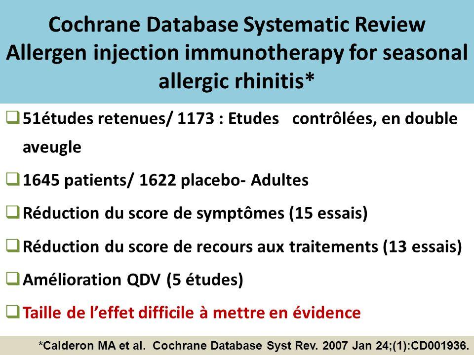 Cochrane Database Systematic Review Allergen injection immunotherapy for seasonal allergic rhinitis* 51études retenues/ 1173 : Etudes contrôlées, en d